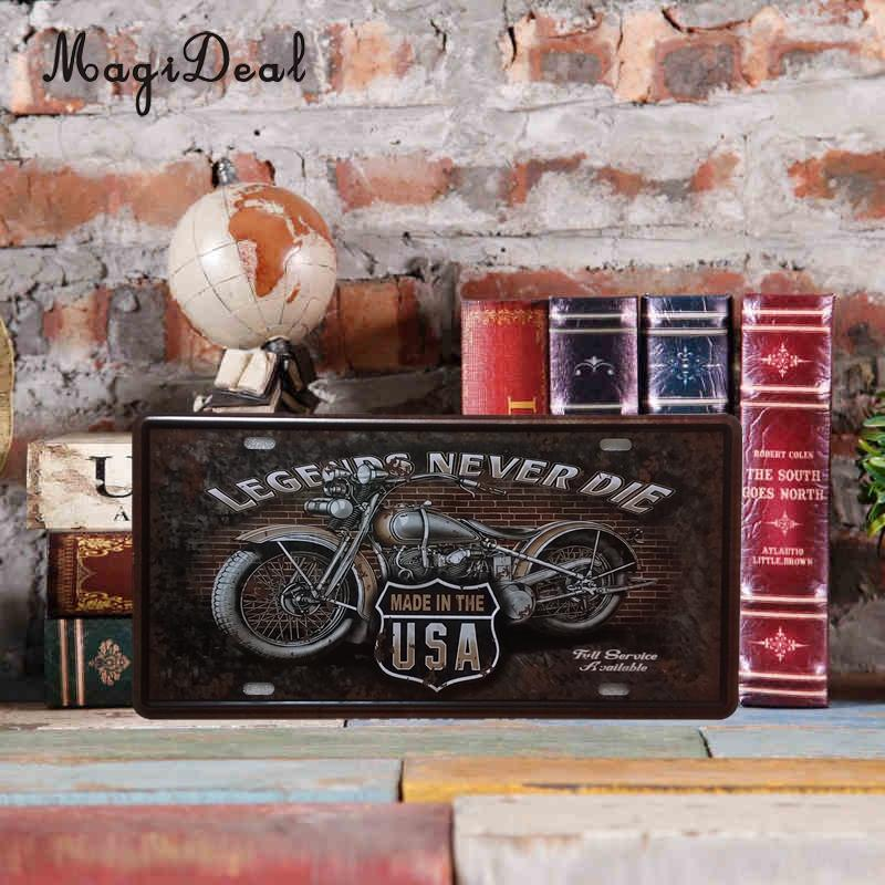 MagiDeal Creative Digital License Plates Vintage Metal Sign Tin Fashionable Design Waterproof Poster Pub Bar Shop 15x30cm 58