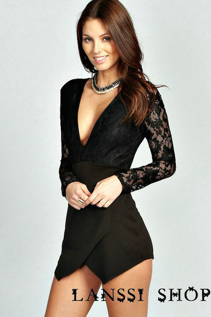 f38d845fd17a Fashion Long Lace Sleeves V-Neck White  Black Ladies Rompers Suit Shorts M- XL W01115