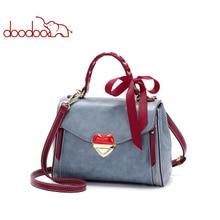 DOODOO Leather Female Top-handle Bag Small Women Shoulder Bag Crossbody Messenger Bag Casual Handbags love lock Small square bag