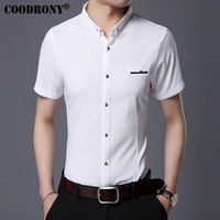 COODRONY Pure Cotton Short Sleeve Shirt Men Brand Clothing Business Casual Dress Shirts With Pocket Slim