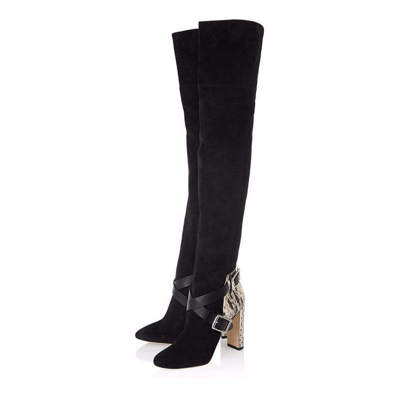 New Design Women's Boots Fashion Pointed Toe Over Knee Boots Long Stilettos High Heels Woman Flock Stockings Shoes TL-A0138 недорго, оригинальная цена