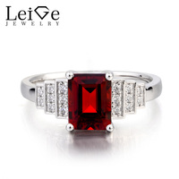 Leige Jewelry January Birthstone Natural Garnet Ring Promise Ring Emerald Cut Red Gemstone 925 Sterling Silver