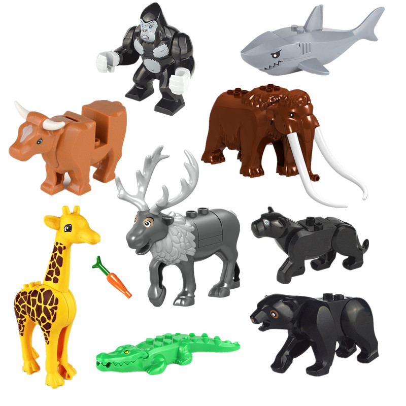 Mini Figures Jungle Animal Series Building Blocks Set Panter Tiger Dinosaurs Toy