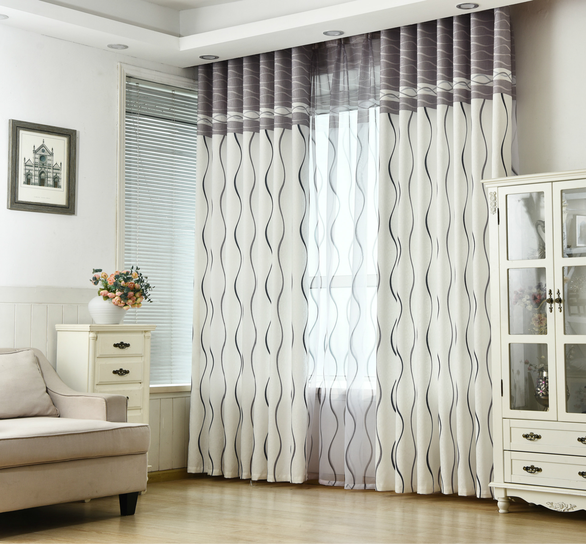 Classic Black And White Stripe Flat Environmental Protection Printing CurtainCurtains For Living Dining Room
