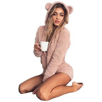 2018 Winter Warm Pajama jumpsuit for Adults Hooded Rabbit Ear  Fur Women One-piece Animal Jumpsuit Sleepwear Pajamas Size 2XL photo shoot