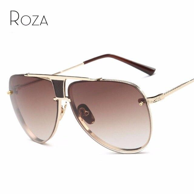 a2ccd780a41bc ROZA Lente Revestimento de Óculos De Sol Dos Homens Da Marca Designer Quadro  de Cobre Venda