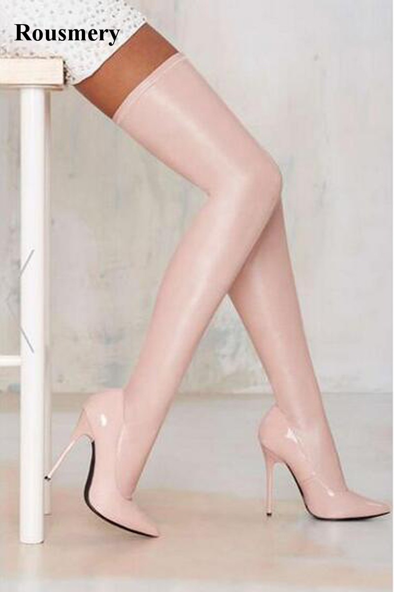 Sexy Women Black Pink Patent Leather Over Knee Bandage Stretch Long Boots Stiletto Heel Pointed Toe Thigh Long Boots Dress Shoes