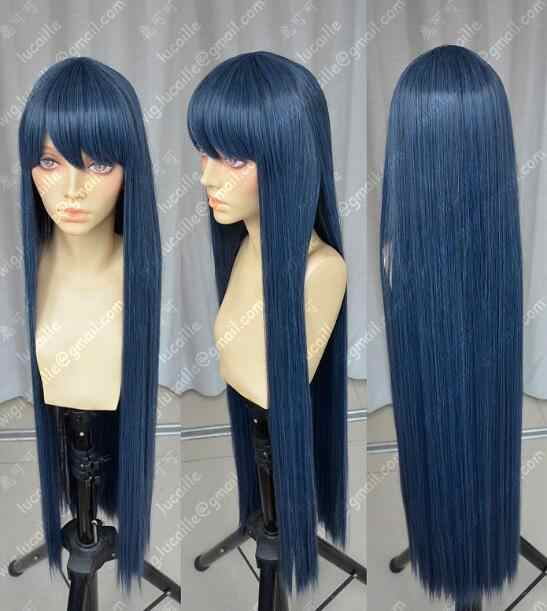 WIG Danganronpa Maizono Sayaka 100cm Blue Black Cosplay Party Wig Free Shipping