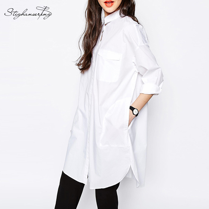 Qishi 2016 women casual shirt dress straight white long Straight collar dress shirt