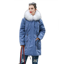 2017 Fashion Jean Parka with White Real Whole Fox Fur Collar Winter X Long Overcoat with