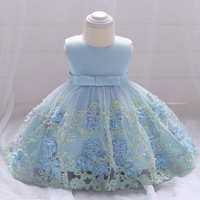 Retail Baby Girl Birthday Party Tutu Dresses Cute Girls Flower Party Dresses With Bow Toddlers Summer