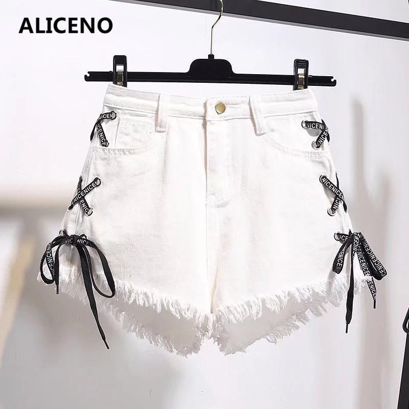 ALICENO NEW 2019 Summer Women High Waist Denim   Shorts   Criss-Cross Bandage Holes Sexy Jeans   Shorts   Vintage   Short   Plus Size S-6XL