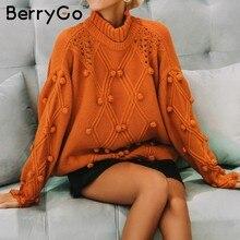 def4b637cb1b BerryGo Dolcevita inverno donna maglione lavorato a maglia pullover manica  Lunga maglione dell annata allentato Autunno bianco j.