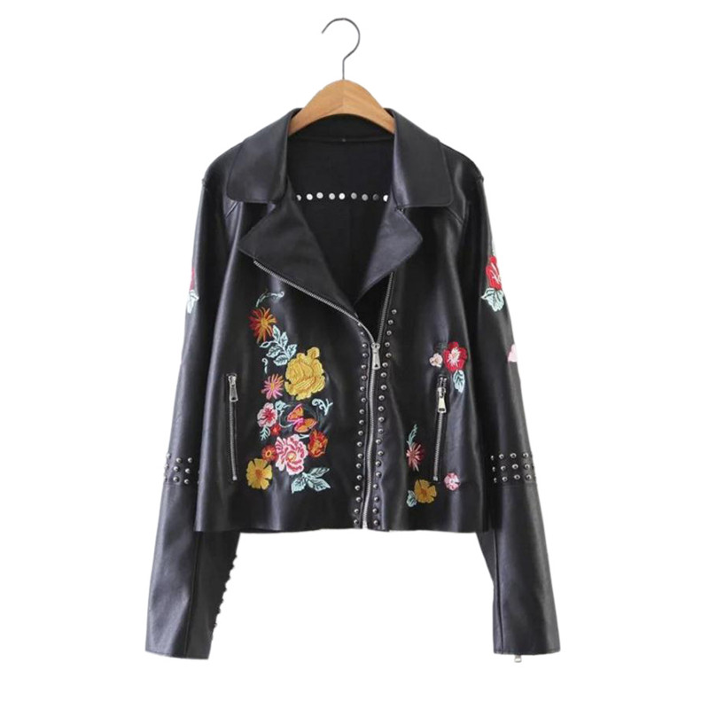 fashion girl leather jacket coat flowers embroidery leather coat  jacket for 17-23yrs girls lady women style outerwear jacket a three dimensional embroidery of flowers trees and fruits chinese embroidery handmade art design book