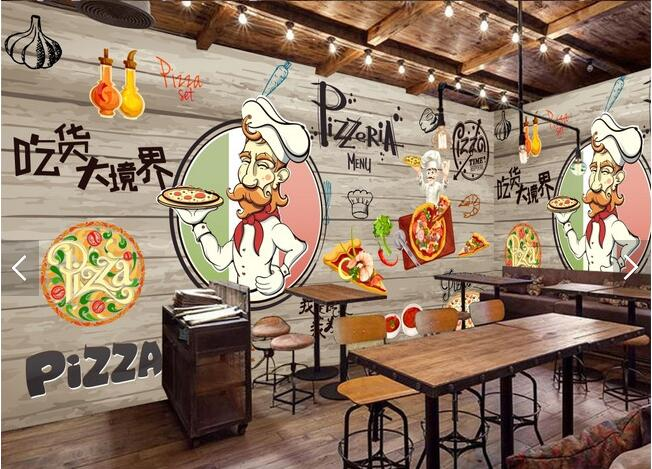 Modern Nostalgic Restaurant Background Wallpaper Pizza Restaurant Large Fresco Personalized