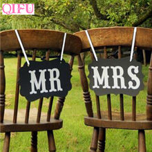 QIFU 1 Set Mr Mrs Letter Photo Booth Props DIY Black Paper Board PhotoBooth Wedding Party Props Wedding Decoration Supplies(China)