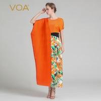 VOA 2018 Summer Fashion Design Silk Women Irregular Print Dress Plus Size Loose Irregular Sleeve Boho Maxi Dress ALJ00701