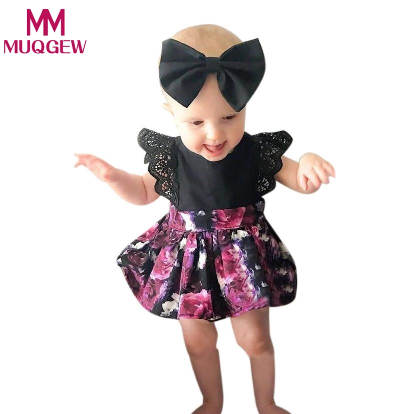Princess Romper +Headband 2pcs Floral Printed Baby Infant Jumpsuit Newborn Girls Baby Romper Tutu Dress Kids Outfits 2017 floral newborn baby girl clothes ruffles romper baby bodysuit headband 2pcs outfits sunsuit children set