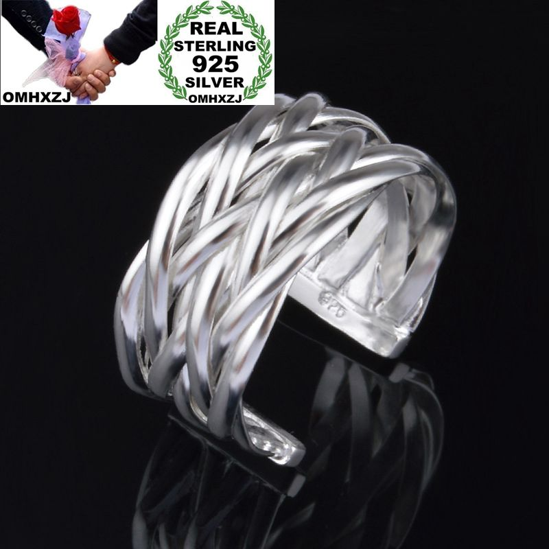 OMHXZJ Wholesale Personality Fashion OL Woman Girl Party Wedding Gift Silver Lines Weaving Open 925 Sterling Silver Ring RN247
