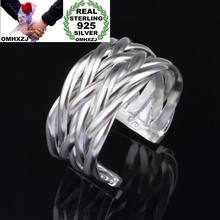 OMHXZJ Wholesale Personality Fashion OL Woman Girl Party Wedding Gift Silver Lines Weaving Open 925 Sterling Silver Ring RN247(China)