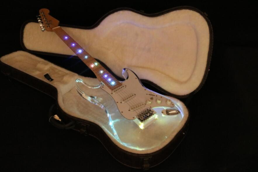 Quality sss pickup acrylic body led light on body neck st strat electric guitar free shipping free shipping new electric guitar open pickup hy 8311