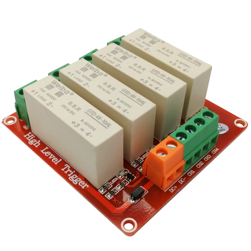 4 channel high-level trigger solid-state relay module 10A high current control DC solid state relay 3-32VDC wide voltage 8 channel 5a high level trigger solid state relay module board 3 32v power supply and trigger voltage