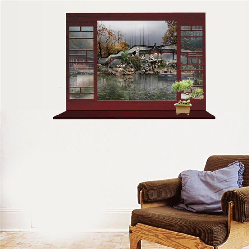 4designs China vintage windows wall stickers living room decor 8018. home decal mural art tree snow natural scenery poster 3.0