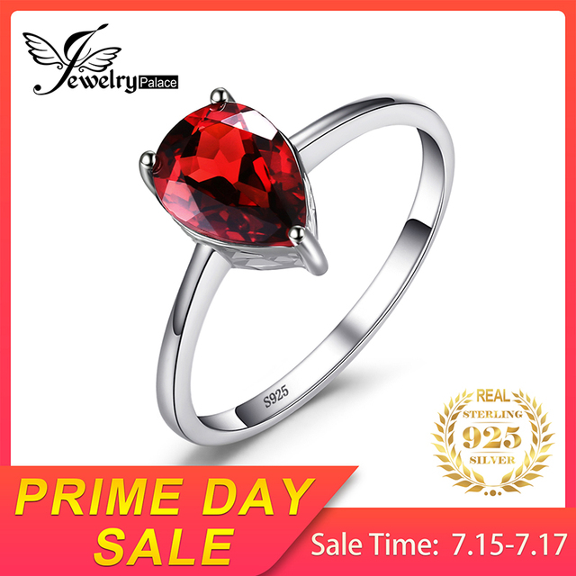 Water Drop Red Garnet Ring