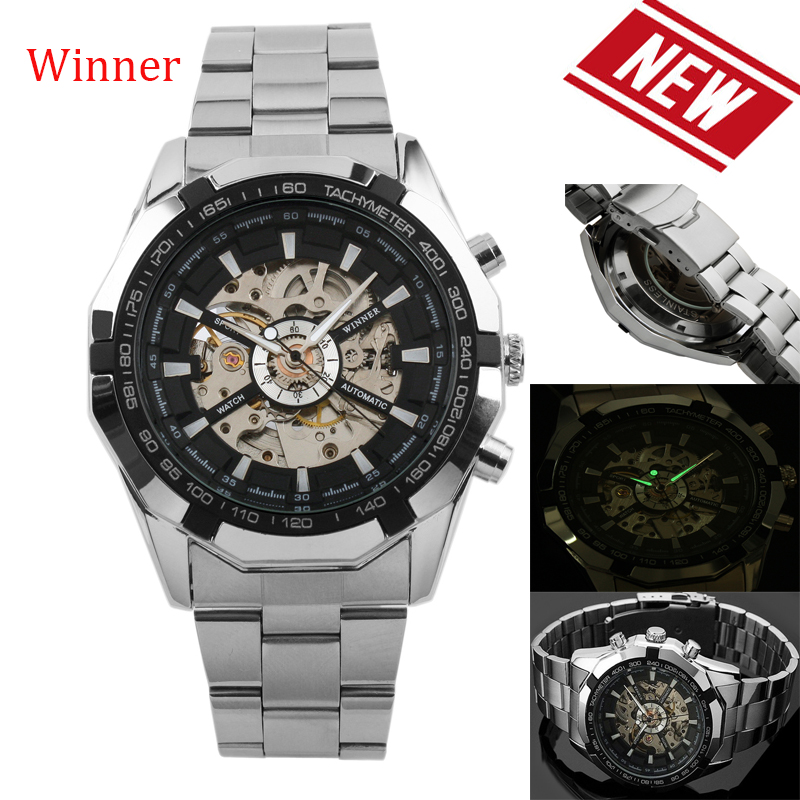 100% Brand new Winner genuine full hollow men's automatic mechanical watch Automatic movement Stainless Steel Case 40mm Shipping все цены
