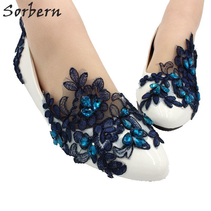 Sorbern mariée mariage chaussures dentelle Applique strass demoiselle d'honneur chaussures pompes pour femmes sans lacet de mode fête Plus chaussures