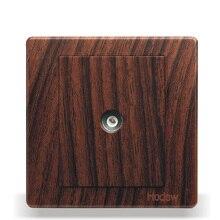 Переключатель розетку Панель 86 Тип из темного дерева Цвет ТВ разъем Панель кабель ТВ разъем Панель, pc 220 В 10A