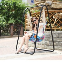 A,Beach Hammocks Garden Camping Travel Swing Outdoor Furniture Hanging Chair for Xmas Gift Cotton with Sponge