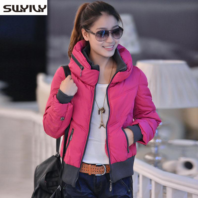 Women Cotton Padded Winter Coat Female Short Jacket Korean New Spring 2015 Zipper Stitching   Parkas   Mujer Invierno