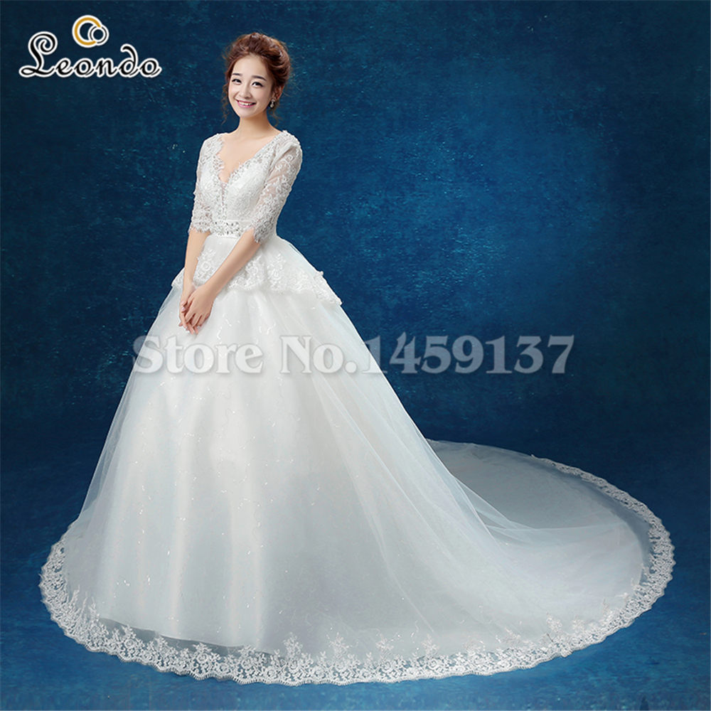 Lt185 Half Sleeves Wedding Dress Fast Shipping Ivory V Neck Lace Hand Make Real Photos Long Train Up Gown In Dresses From Weddings