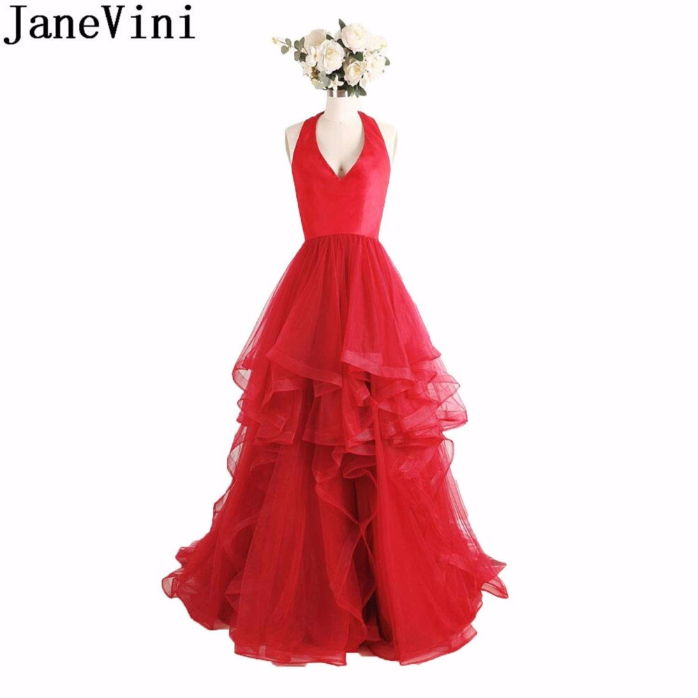 JaneVini Bridesmaids Dresses for Women Sexy Halter Backless Long Women Wedding Party Dress Guest Tiered Tulle Red Prom Gown 2018