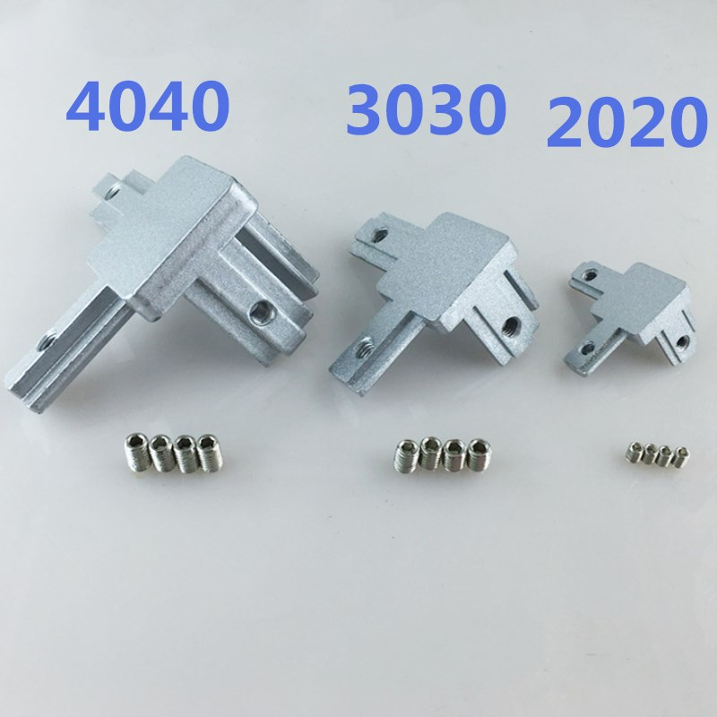 3D Printer 4pcs T Slot L-Shape 2020 3030 4040 Aluminum Profile Interior 3-way inside Corner Brackets Connector free shipping