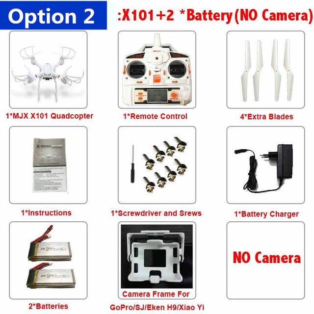 Profession Drones MJX X101 Quadcopter 2.4g 6-axis Rc Helicopter Drone with Gimble can Add C4010 FPV Wifi Camera Hd Vs X8c X8G