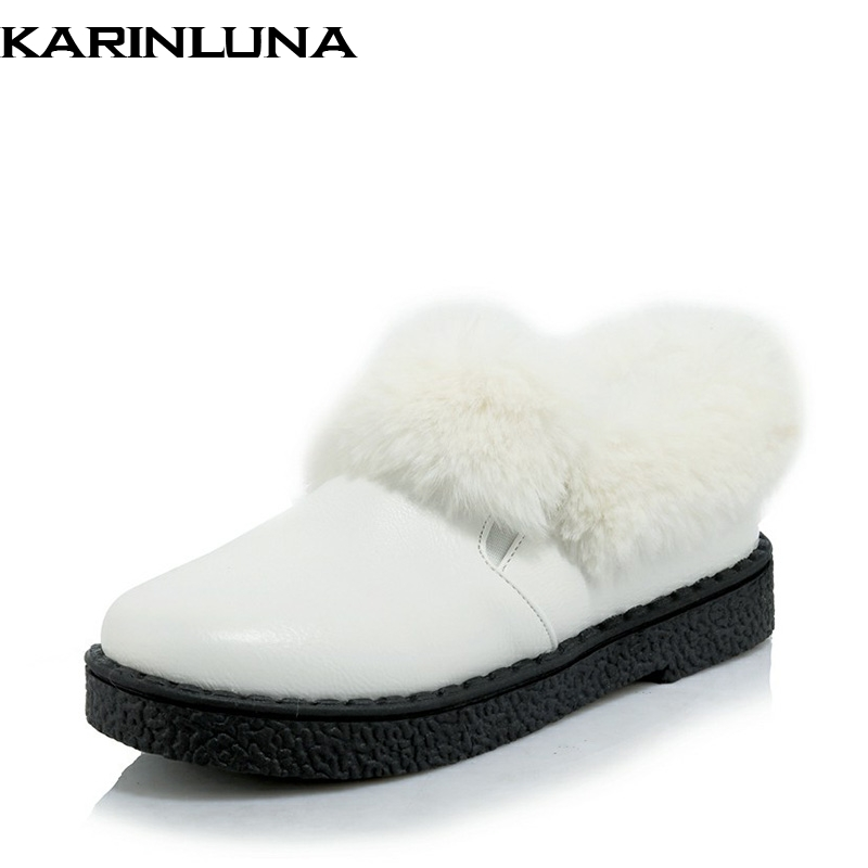 Plus Size 30-46 Women Winter Warm Fur Decoration Flat Shoes 2018 Rubber Sole Round Toe Slip On Comfortable Flats Black Gray women round toe flower ladies beautiful flats shoes green fashion rubber sole applique loafers walking slip on embellished 2017
