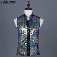 Vintage Embroidery Golden Green Sequins Vest Tide Male Singer Nightclub Bar Concert Costume Fashion Performance Slim Waistcoat