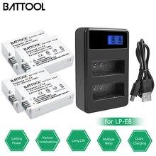 Battool 4pcs LP-E8 LP E8 Batteries with LCD Dual Charger Pac