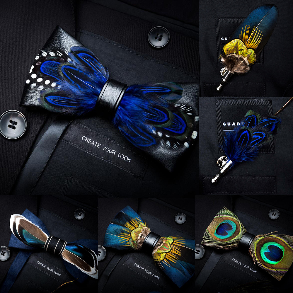 GUSLESON Novelty Handmade Mens Leather And Feather Bow Tie Brooch Pre-tied Bowtie For Wedding Party With Gift Box
