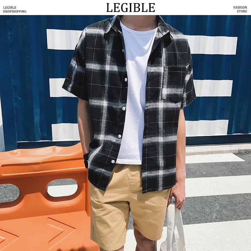 LEGIBLE Men Plaid Short Shirts 2019 Mens Harajuku Streetwear Casual Loose Hip Hop Half Sleeve Shirt Male Fashion 1