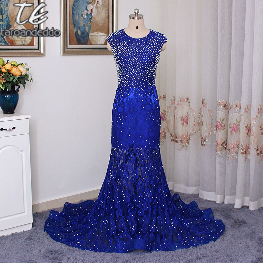 Lace-Appliques Beads Sleeveless Mermaid Royal-Blue Gorgeous   Prom     Dress   See Through Lace Evening   Dress   vestidos de graduacion