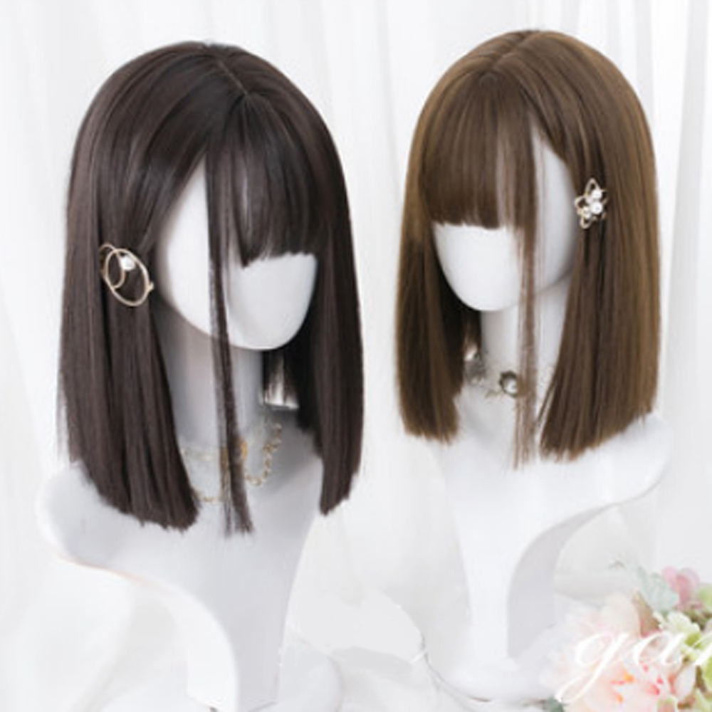 "CosplaySalon H762437 14"" Lolita Medium Black Brown Bangs Fringe Bob Natural Party Straight Synthetic Heat Resistant Cosplay Wig"