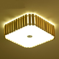 Wooden rectangular LED ceiling lamp Japanese tatami bedroom lamp living room decoration cafe clothing store D37/47cm lights ZA