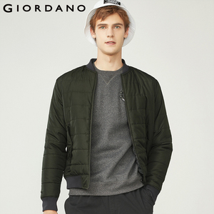 Giordano Men Bomber Jacket Men Thick Quilted Zip Bomber Jacket Stand Collar Ribbed Cuffs Pilot Jacket Pockets Jaqueta Masculina