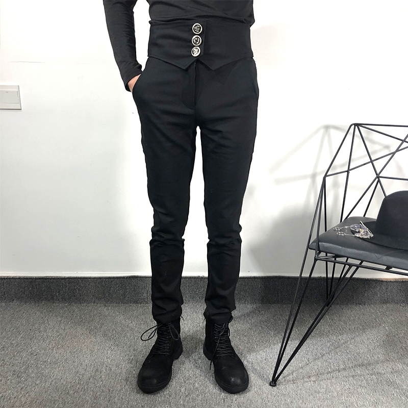 Feet-Pants Decoration Slim Black Casual And Show Small Autumn Spring Waist-Seal New-Style thumbnail