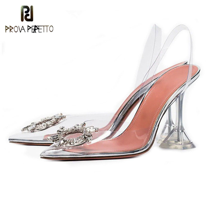 Prova Perfetto Pointed Toe Rhinestone Sandals Women Transparent Heels PVC Crystal Cup Heel Back Strap Holiday