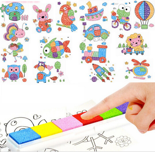 8pcs/set Cartoon Kid DIY Finger Painting Craft Set Children Colorful Fingerpaint Drawing Education Learning Picture Toy