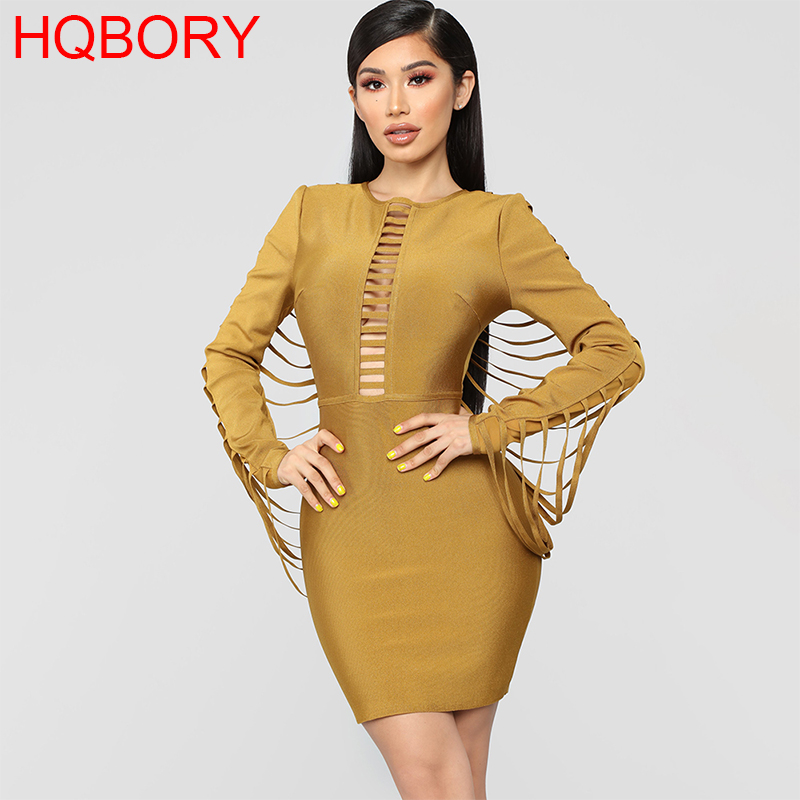 Long Sleeve Ginger Cut Out 2019 Sexy Women s New Fashion Winter Tassel Plus Size Knee